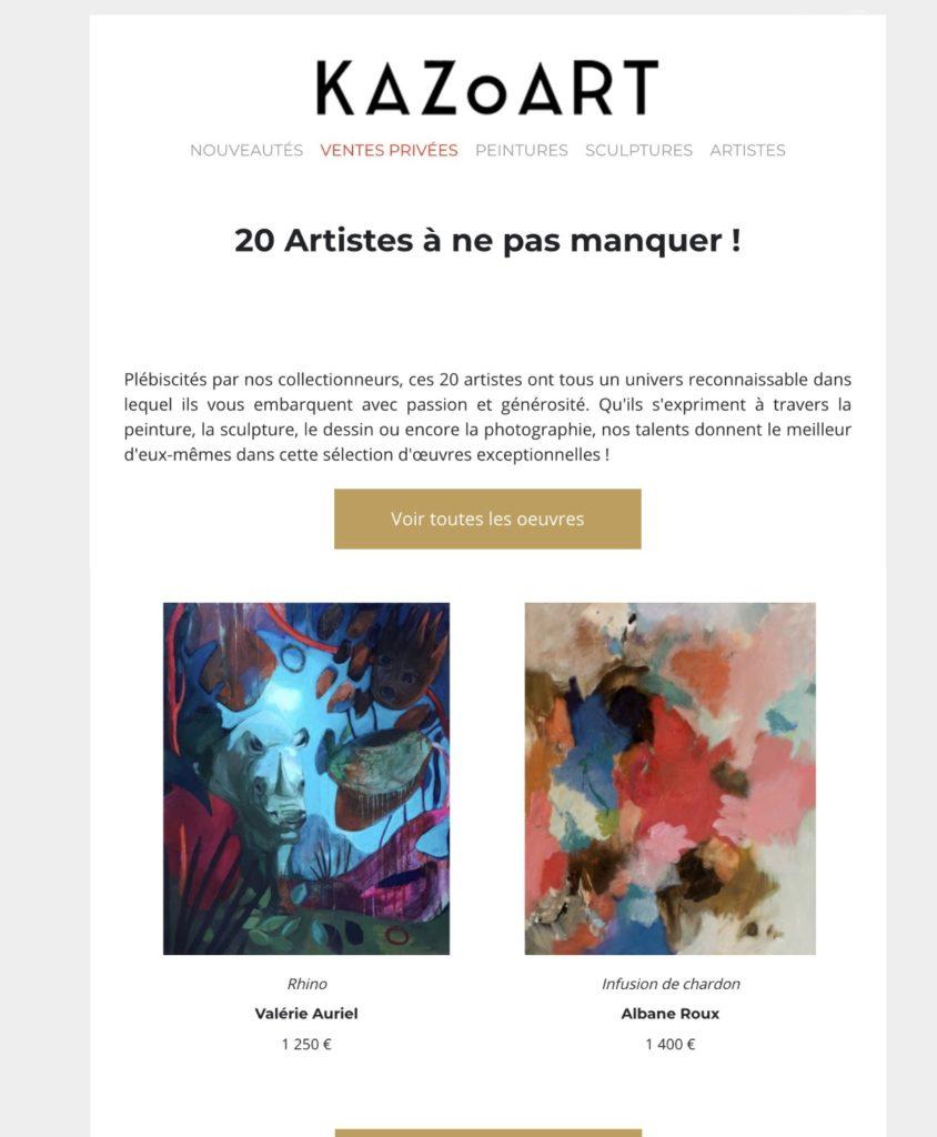 Newsletter de Kazoart - Janvier 2020