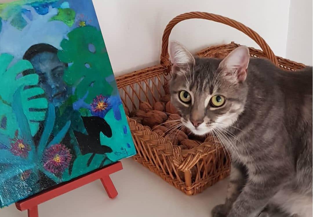 chat, peinture, atelier