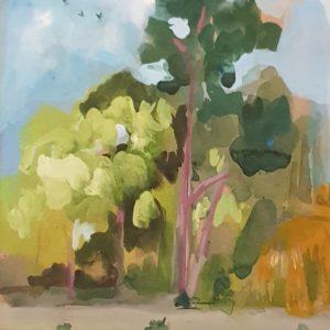 arbre, gouache, paysage, nature