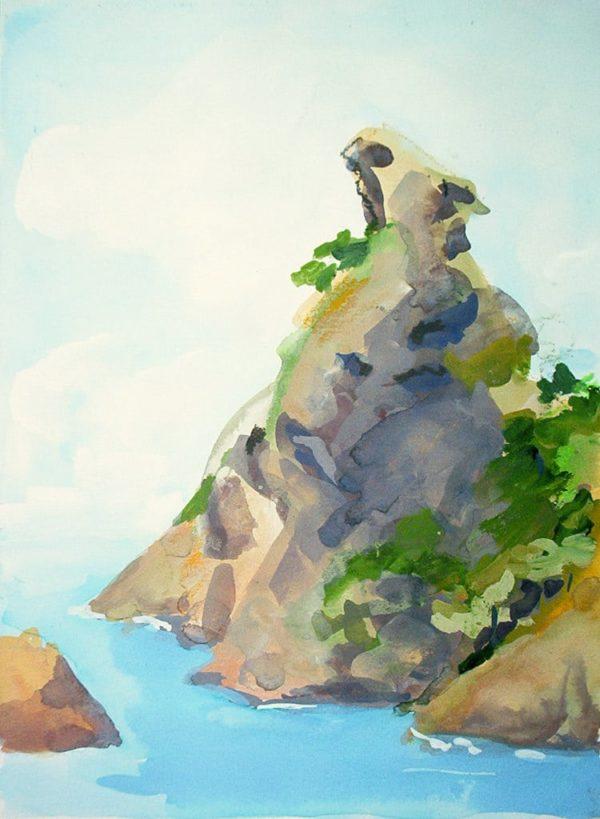 paysage, gouache, la Ciotat, mer