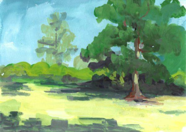 arbre, parc, gouache, paysage