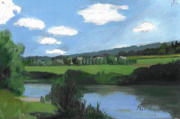 Les berges normandes, huile sur papier de Valérie Auriel