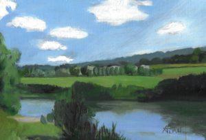 normandie, campagne, peinture, huile