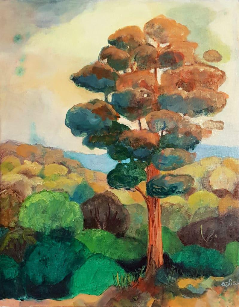 peinture, forêt, huile