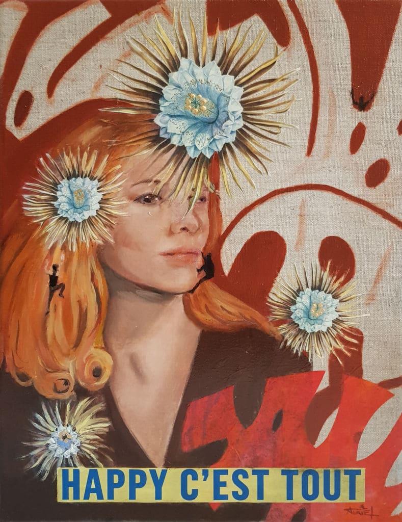 portrait, jungle, peinture, collage