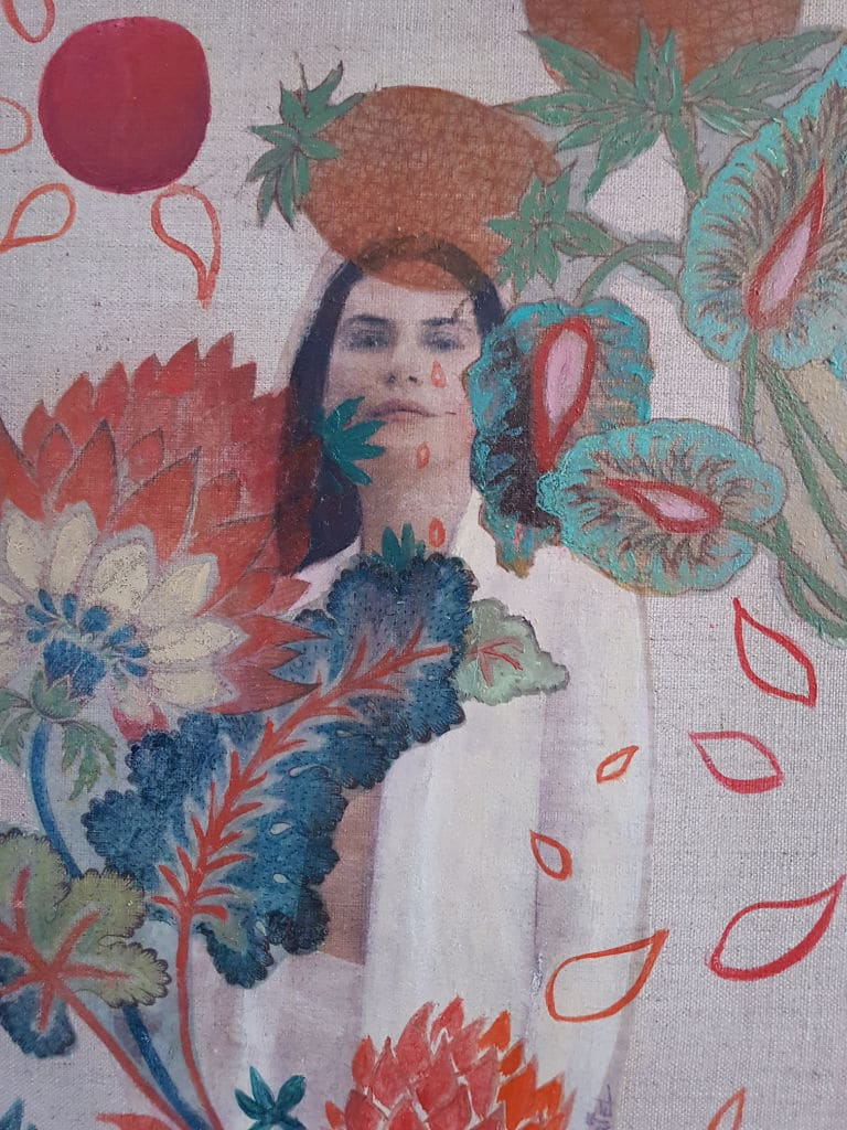 jeune femme, jungle, collage