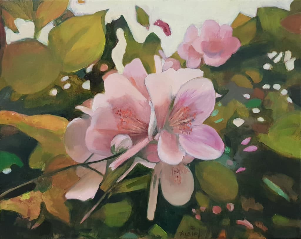 fleurs, peinture, huile, seringuats