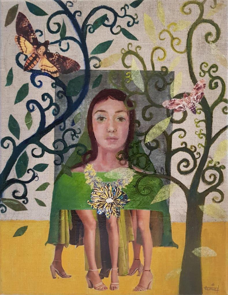 portrait, jeune femme, collage, suréalisme