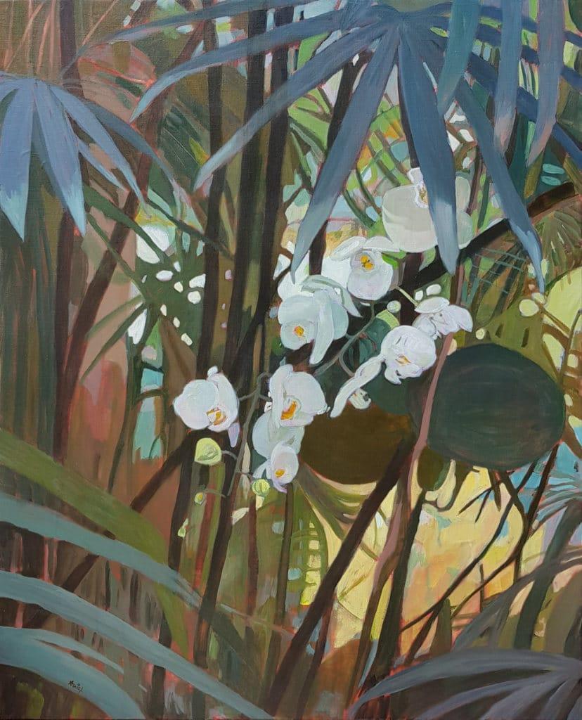 orchidees, jungle, peinture, huile