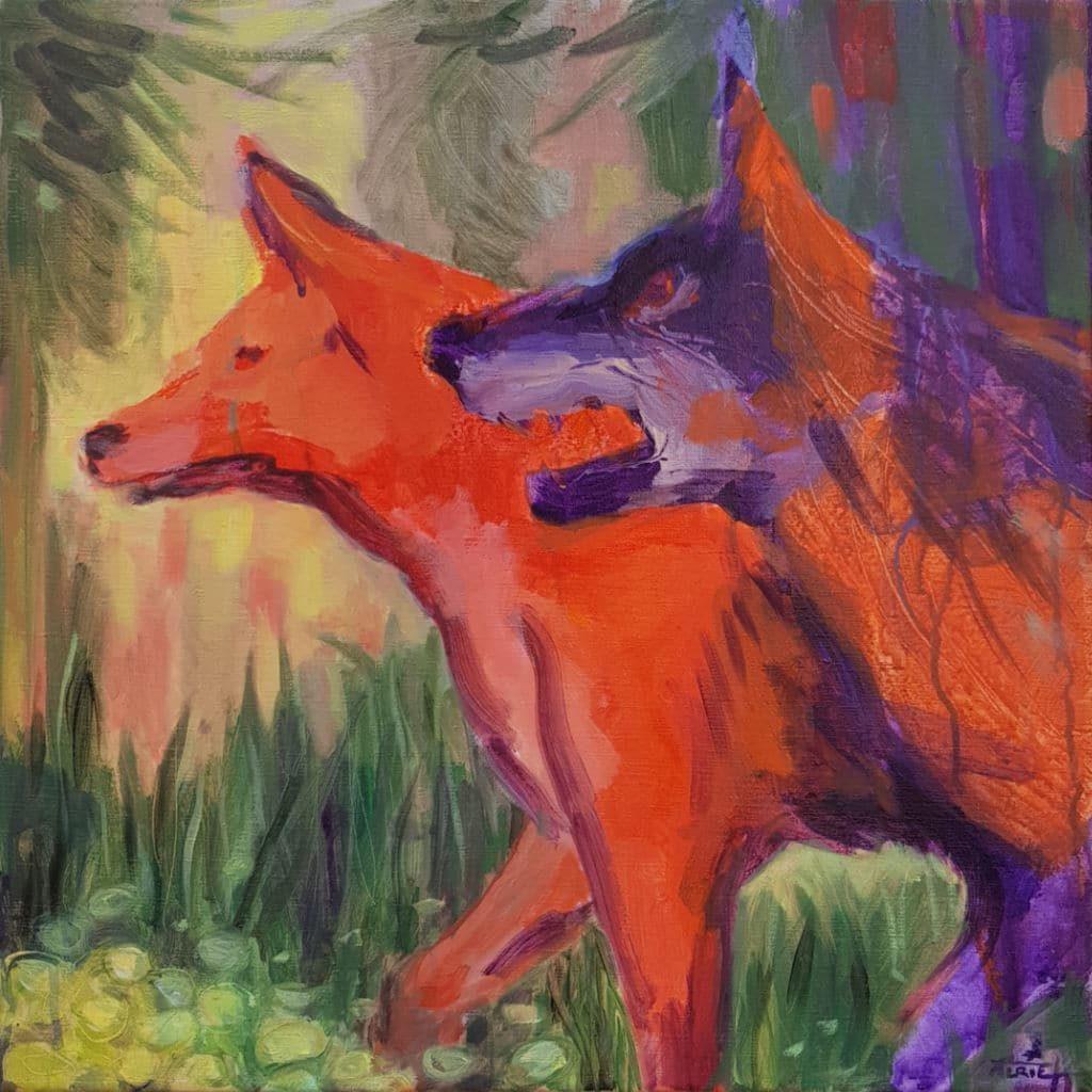 loups, forêt, peinture