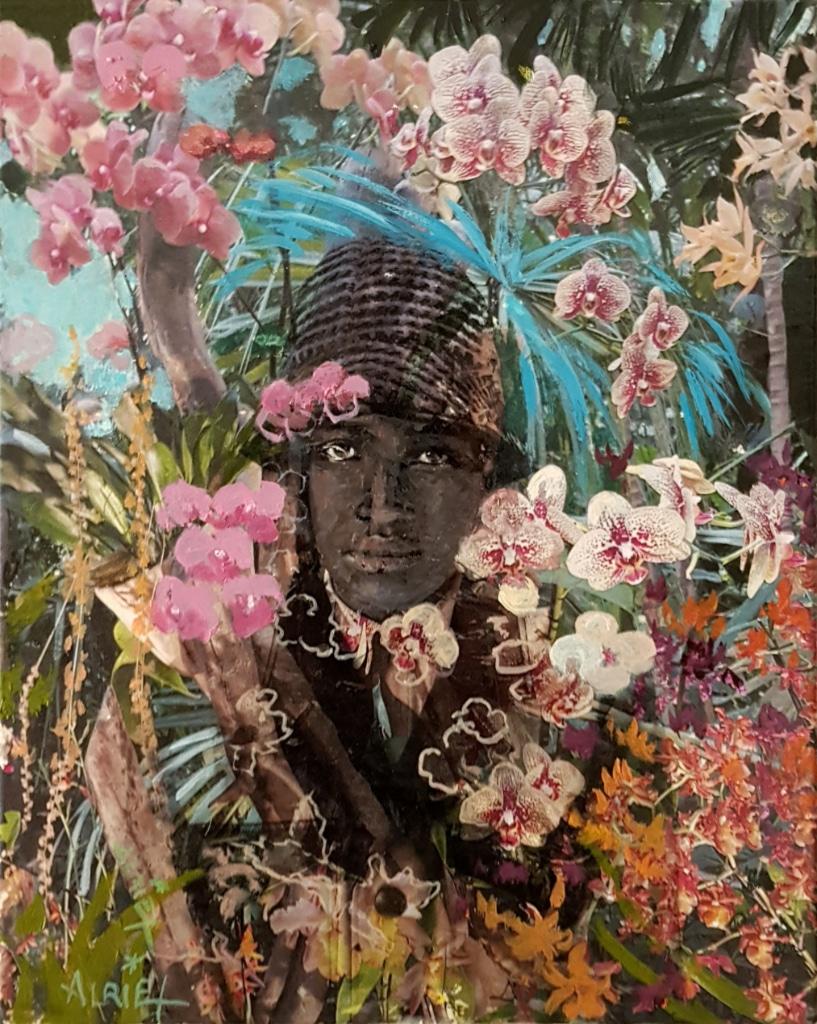 portrait, jeune fille noir, jungle, collage