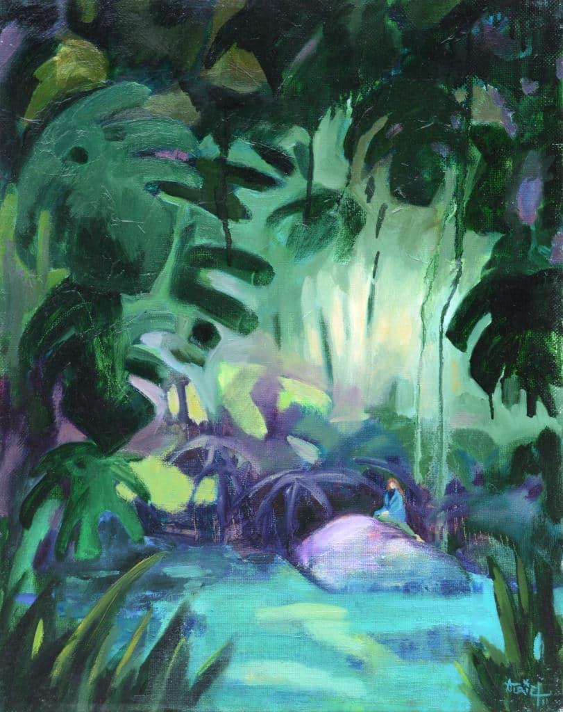 peinture, jungle, huile