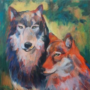 loup, couple, peinture acrylique